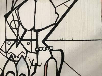 White bi-face Recto/ Verso