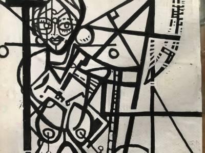 White woman beside Ferris Wheel Recto/ Verso