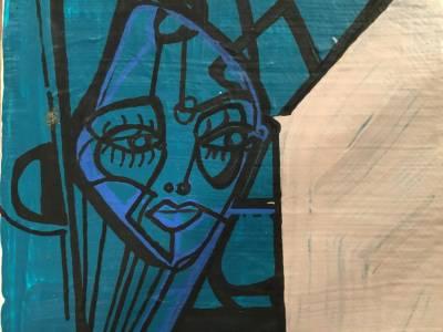 Blue face with speech bubble Recto/verso