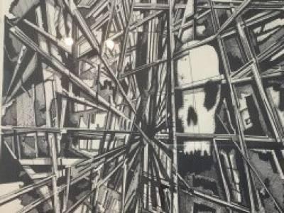 Skull in scaffolding