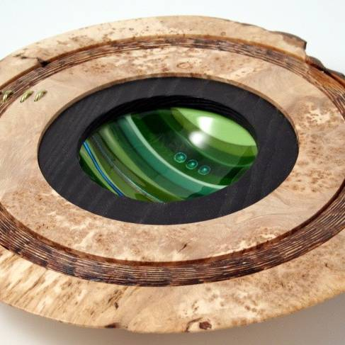 Scott Irvine - Burr Elm centre display - with smoked natural edges, smoked carved