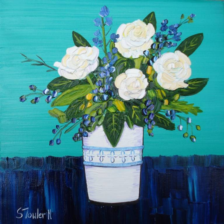Sheila Fowler - White Roses with Wildflowers