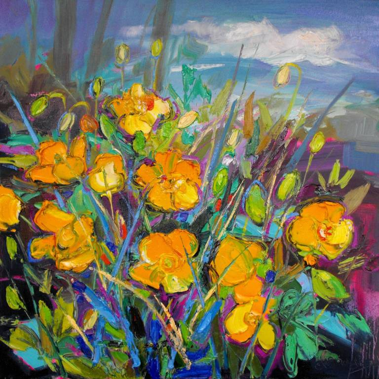 Judith Bridgland - Yellow Poppies at the Edge of a Wood