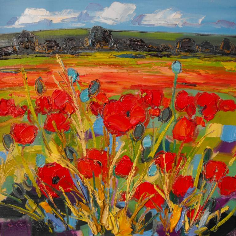 Judith Bridgland - Red Poppies in a Field