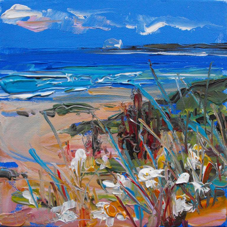 Judith Bridgland - White Flowers in the Sand Dunes, North Berwick