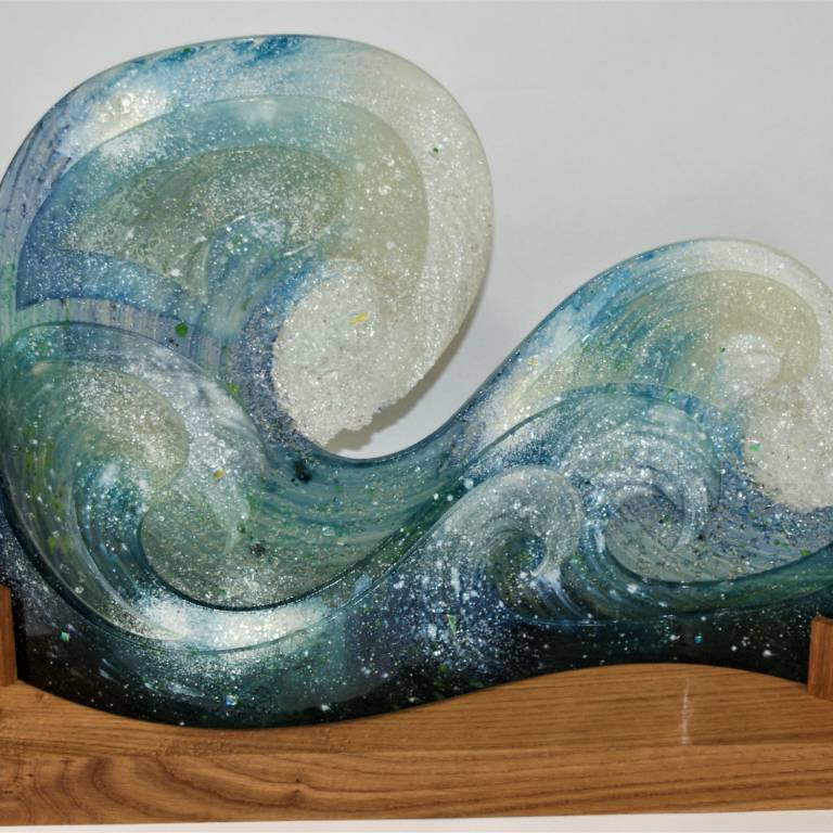 Bobbie Coleman - Large Curved Wave on Oak Base