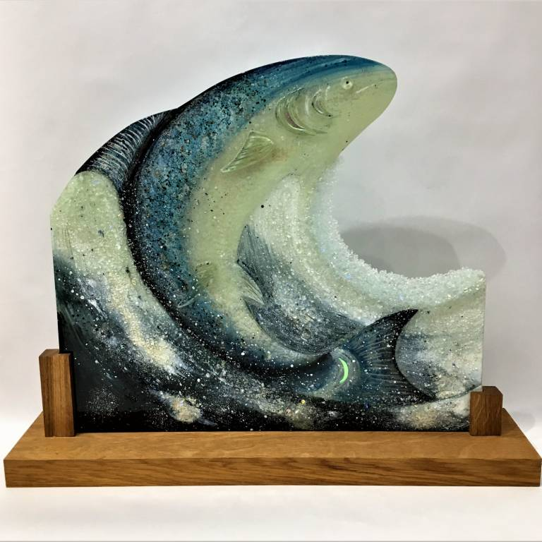 Bobbie Coleman - Large Leaping Salmon on Oak Base