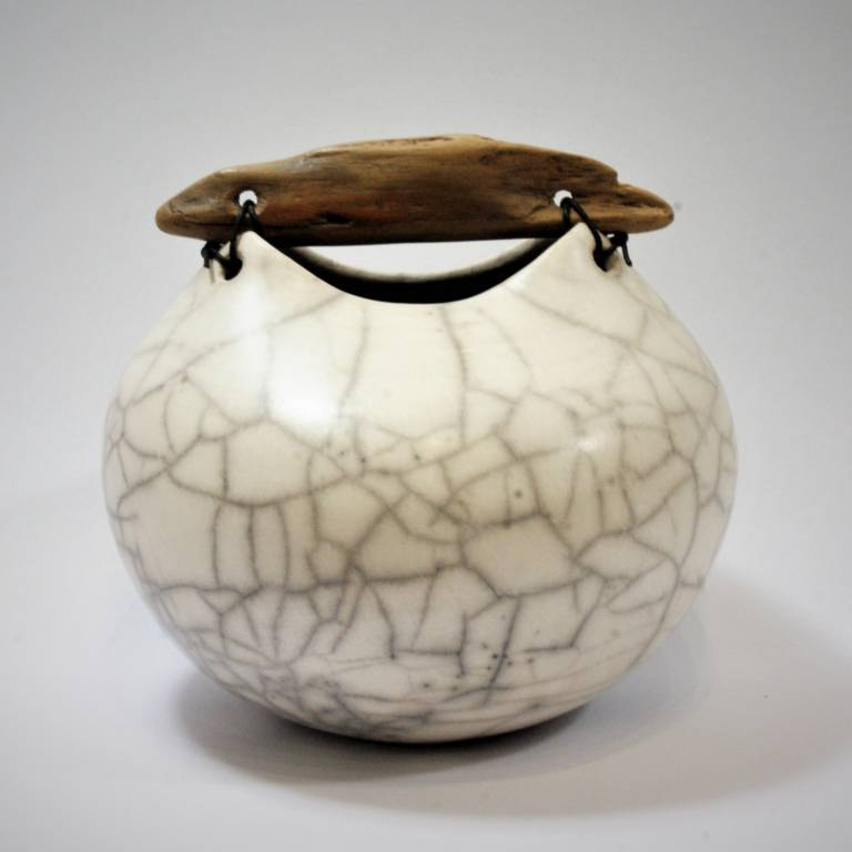 Anne Morrison - Rounded Crackle Pot with Driftwood