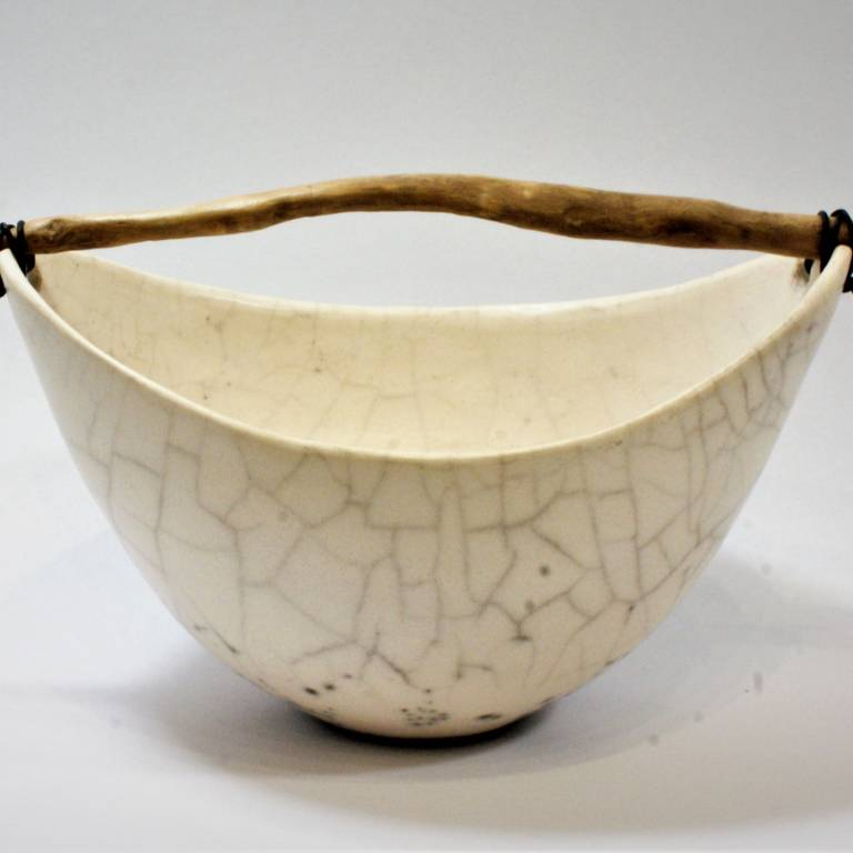 Anne Morrison - Crackle Bowl with Driftwood