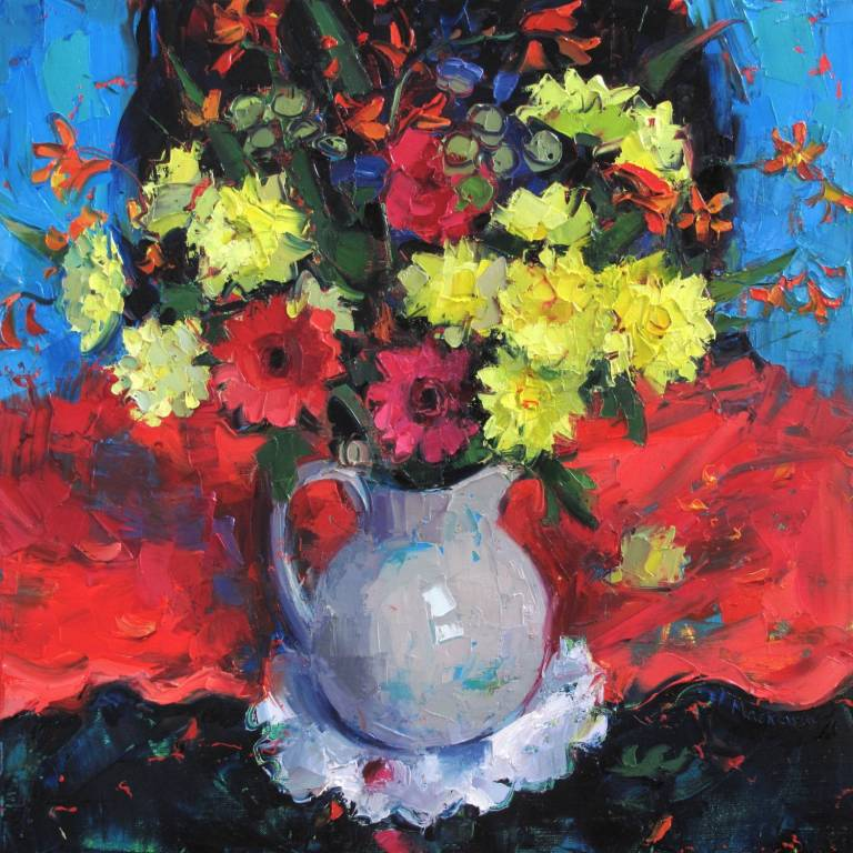 Jennifer Mackenzie - Chrysanths in a French Jug