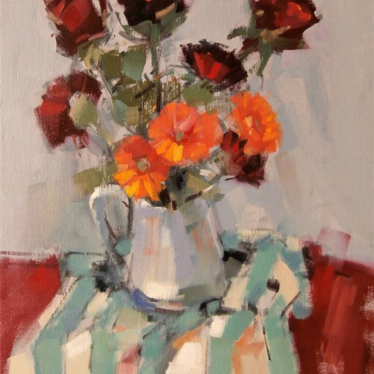 Peter Foyle - Old Roses and Gerbera