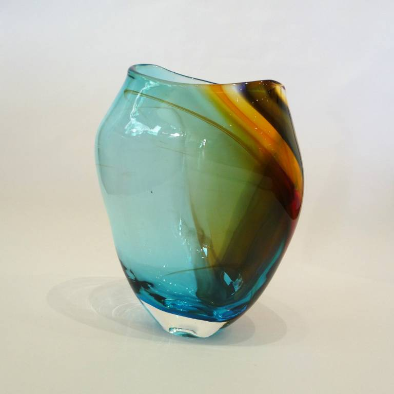 Phil  Atrill - Copper Blue Horizon Vase