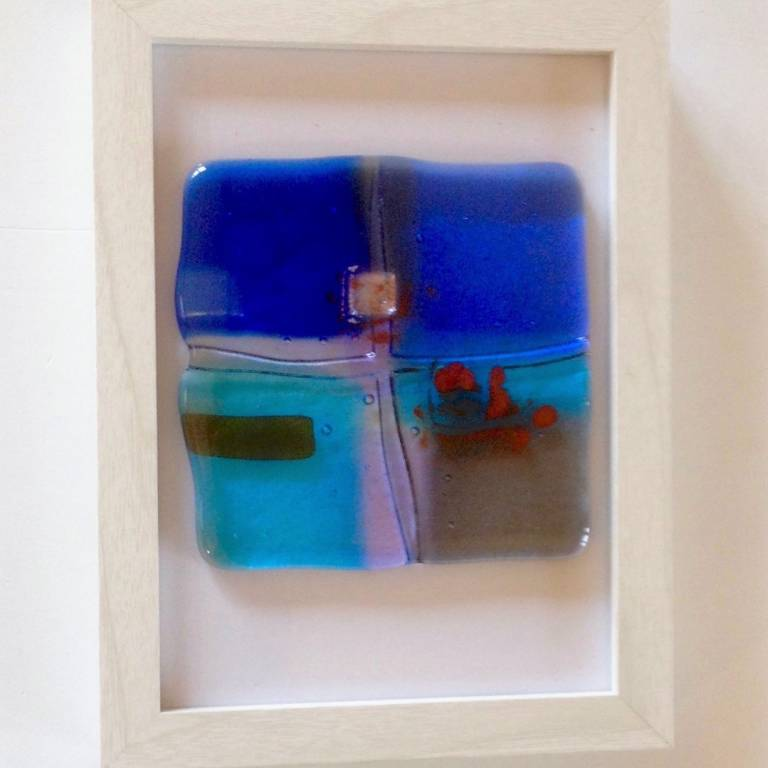 'Landscape Blue, Red Dot' Framed Picture
