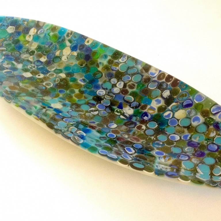 'Riverbed' Oval Thick Kiln-formed Glass Dish