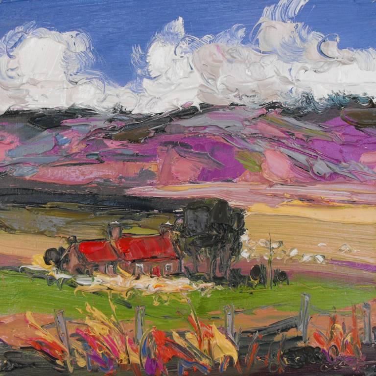 Judith Bridgland - Sheep by Red-Roofed Cottage, Glenlivet