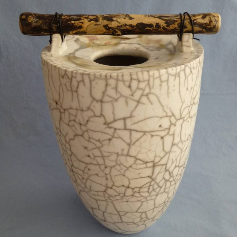 Anne Morrison - Tall Handbuilt Crackle Pot with Shore Colours