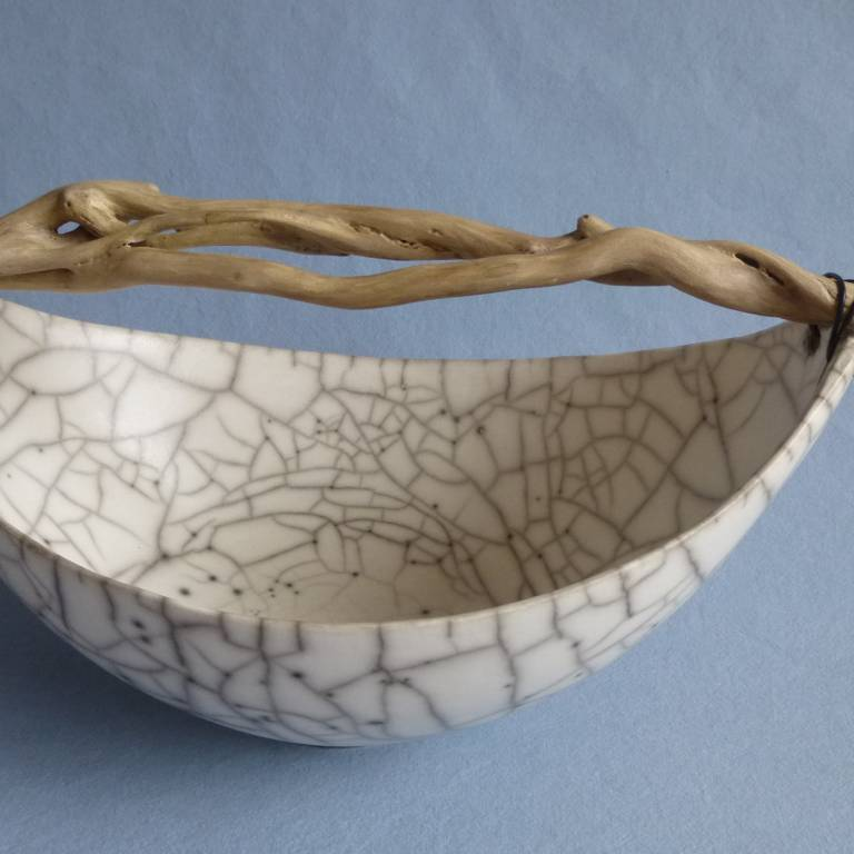 Anne Morrison - Wide Crackle Bowl with Ivy Twist Wood