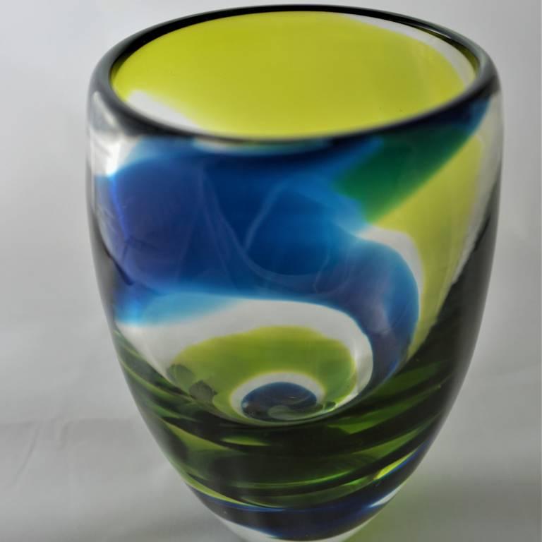 Turquoise Citrus Spiral Vase
