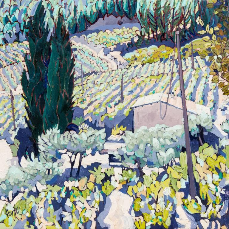 Jennifer Irvine RGI RSW - Vineyards, Montmirail to Gigondas