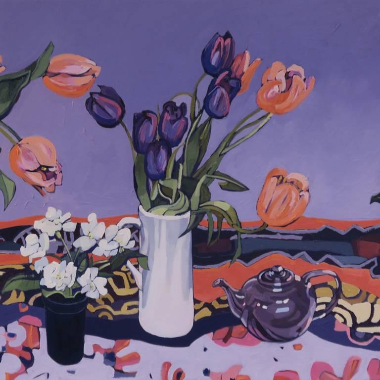 Jennifer Irvine RGI RSW - Tulips Against Blue Background