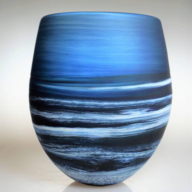 Richard Glass - Seascape Round Vase Steel Blue