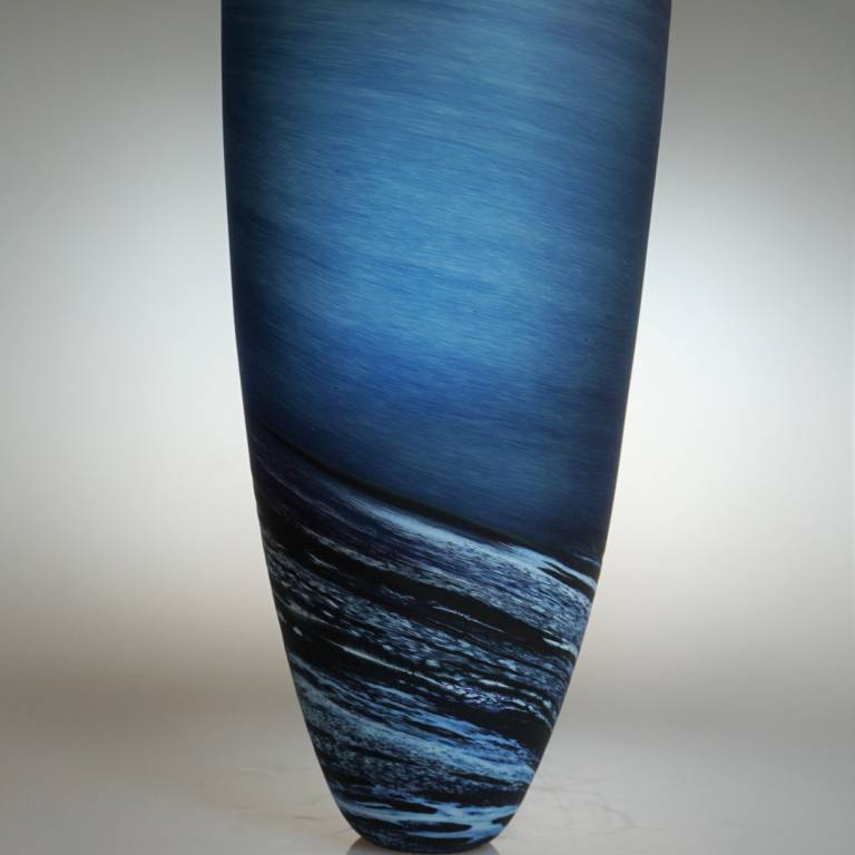 Seascape Tall Vase Steel Blue