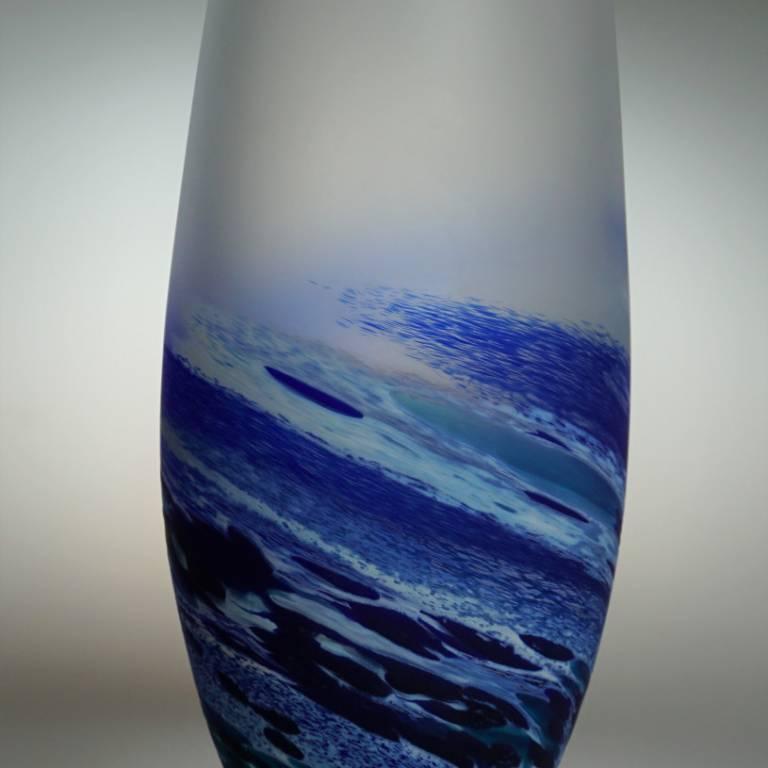 Richard Glass - Rockpoool Seascape Tear Vase Blue