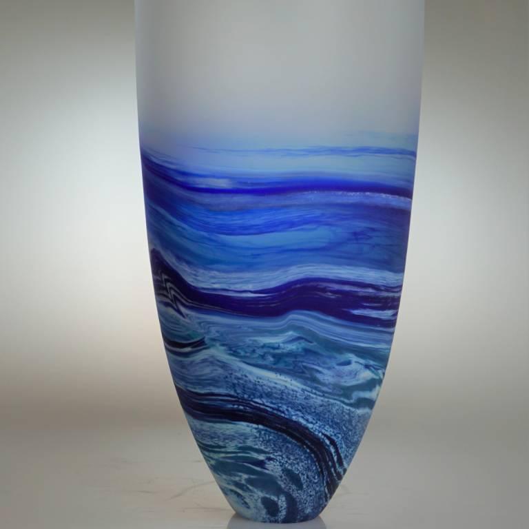 Rockpoool Seascape Tall Vase Blue