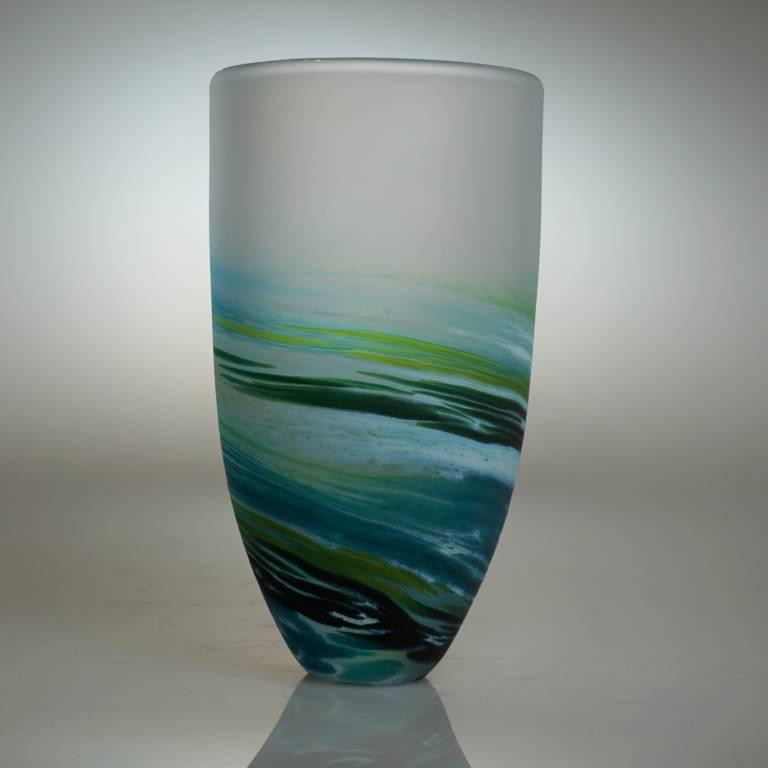 Richard Glass - Rockpoool Bowl Tall Aqua