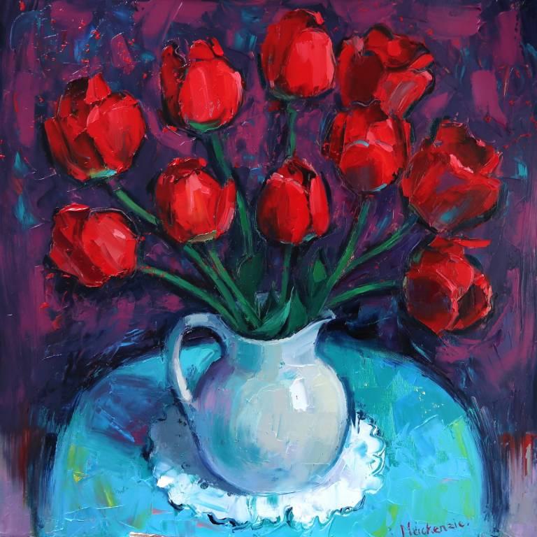 Jennifer Mackenzie - A Big Jug of Red Tulips