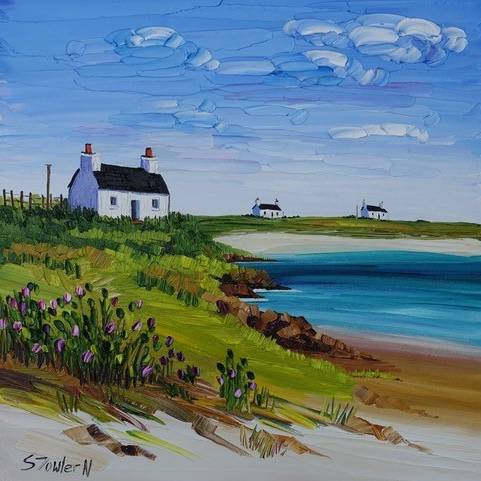 Sheila Fowler - Cottage And Wile Thistles Tiree