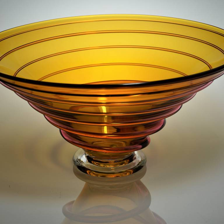 Bob Crooks - Large Spirale Bowl Amber