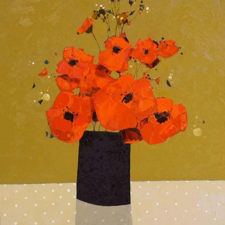 Gordon Wilson - Large Dark Vase of Poppies