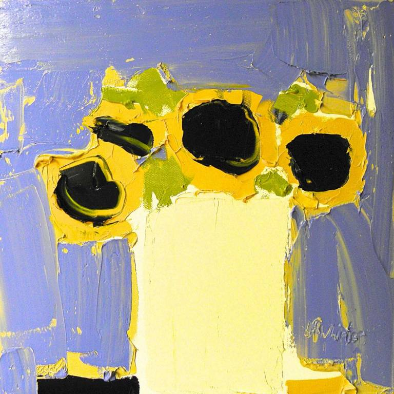 Alison McWhirter - Sunflowers Against Toulon Blue & Pale Umber