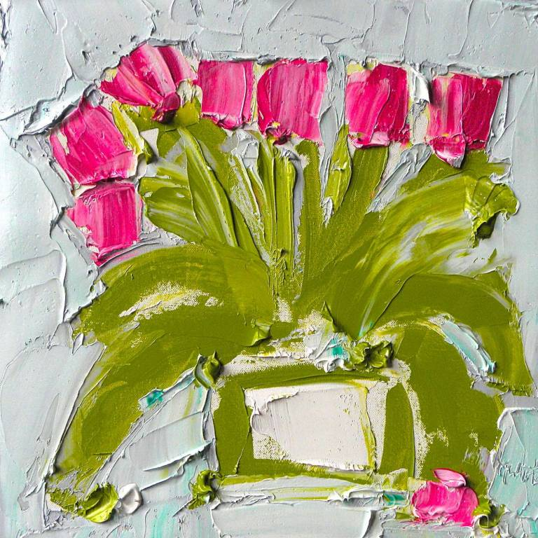 Alison McWhirter - Tulips Against Pale Duck Egg & Grey Umber