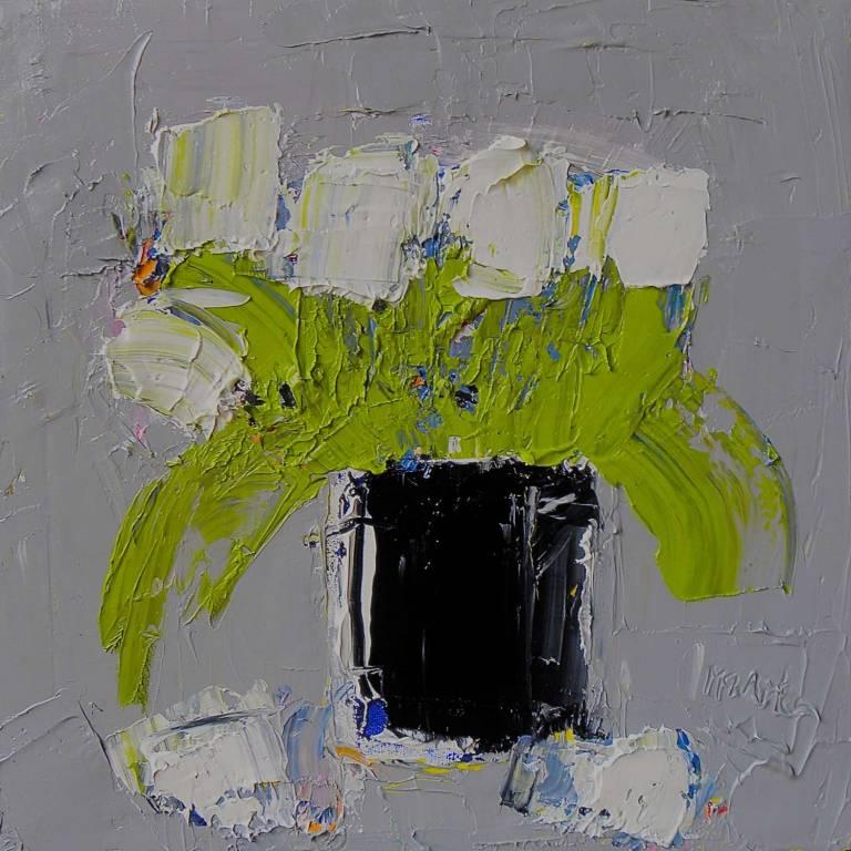 Alison McWhirter - White Tulips In A Black Vase