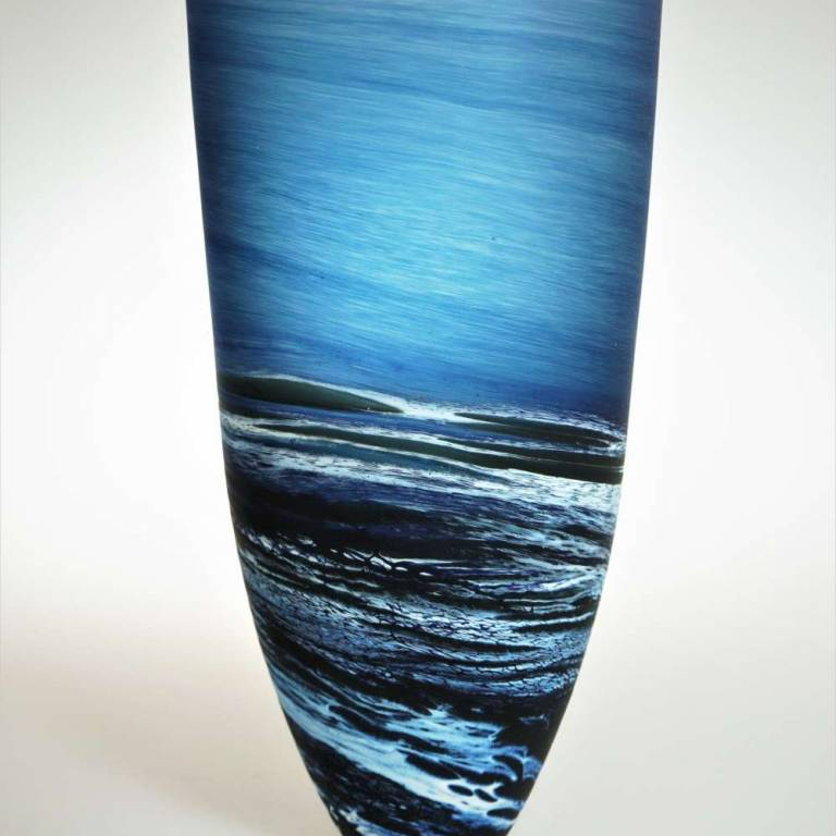 Richard Glass - Tall Seascape Vase Blue