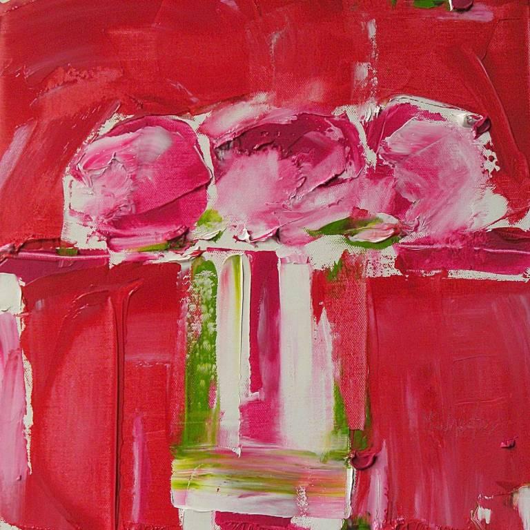 Alison McWhirter - Deep Pink Peonies Against Scarlet