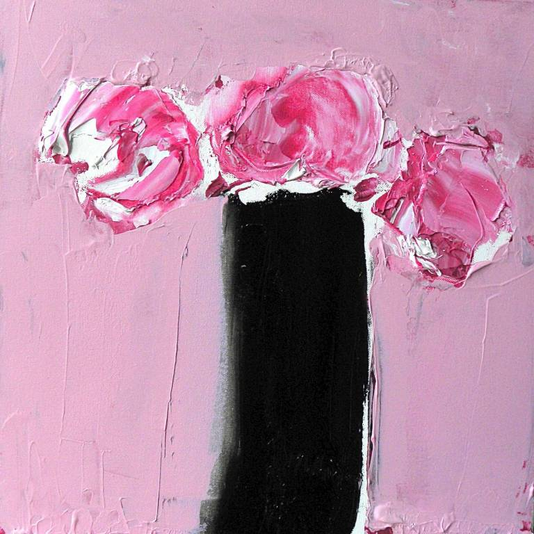 Alison McWhirter - Peony Roses In A Black Vase