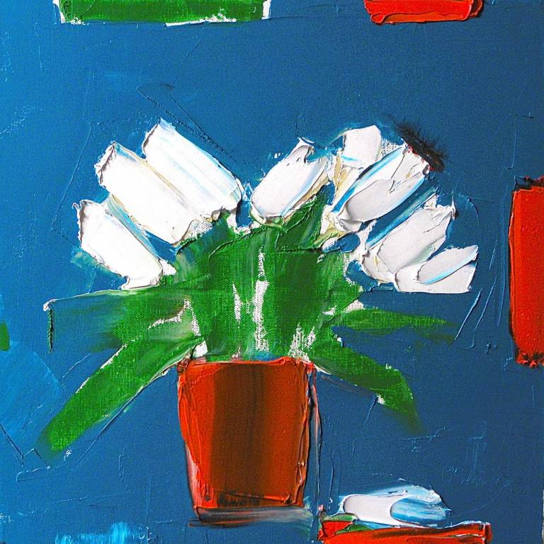 Alison McWhirter - White Lilies Against Pthalo Blue