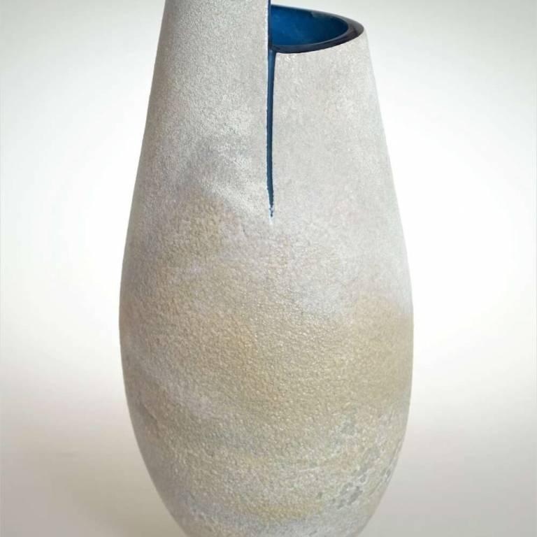 Tall Blue Cut Vase