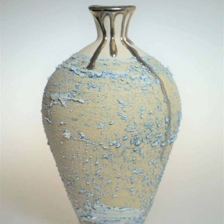 Textured Vase With Platinum Lustre Small