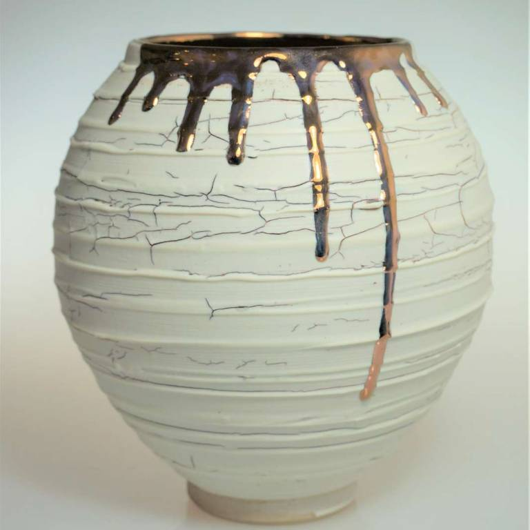 Alex McCarthy - Crackle Texture Moon Jar With Copper Lustre Small/Medium