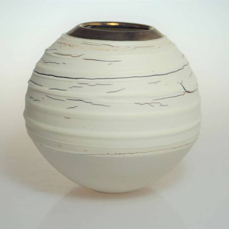 Alex McCarthy - Crackle texture Vase With Copper Lustre Small