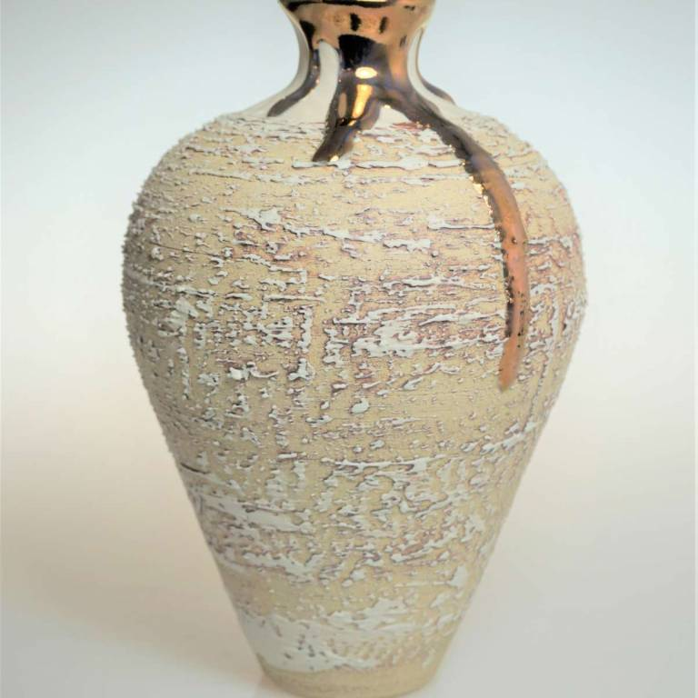 Textured Vase With Copper Lustre Small