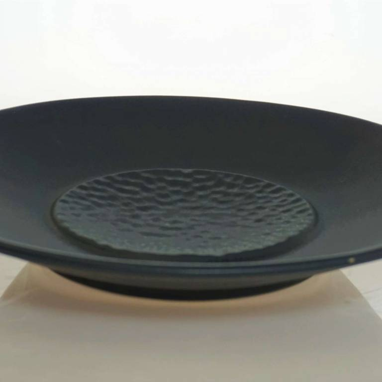 Black Plate With Textured Middle