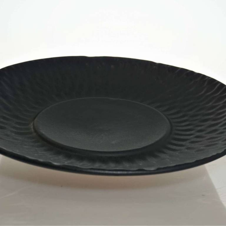 Black Plate With Textured Rim
