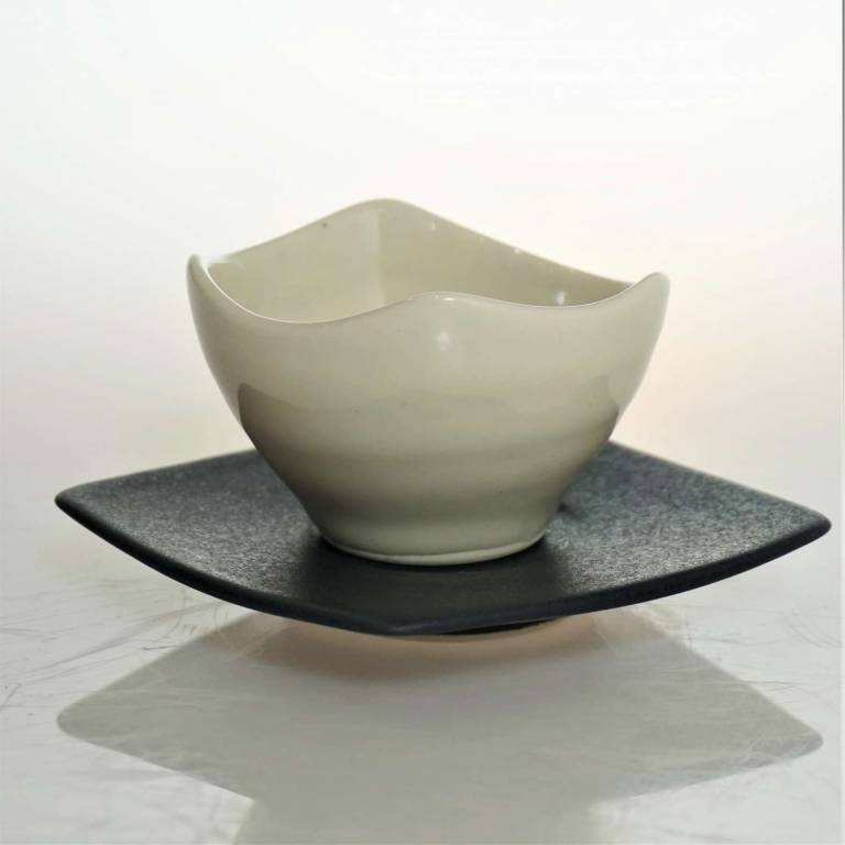 Small White Bowl With Black Saucer
