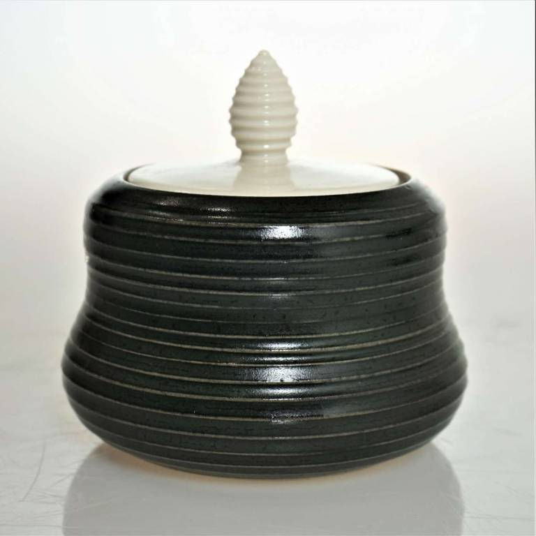 John Maguire - Black Jar With White Lid