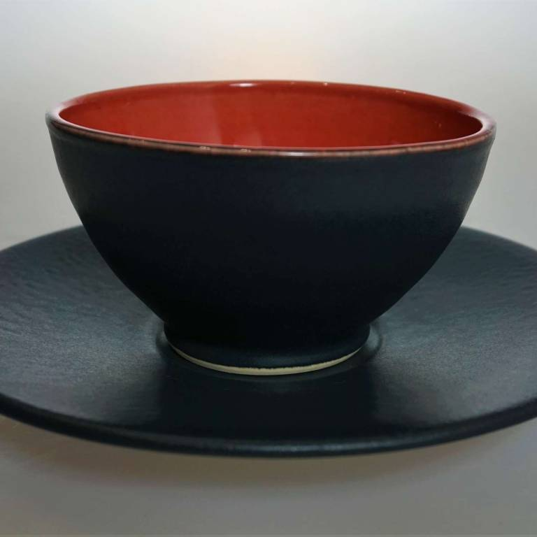 John Maguire - Black Saucer With Red/Black Cup/Bowl